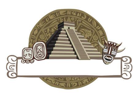 cultura maya: Ilustraci�n con la Pir�mide Maya y glifos antiguos