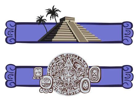 cripta: Illustrazione con la piramide Maya e gli antichi glifi