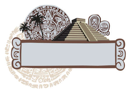 archeology: Illustration with Mayan Pyramid and ancient glyphs