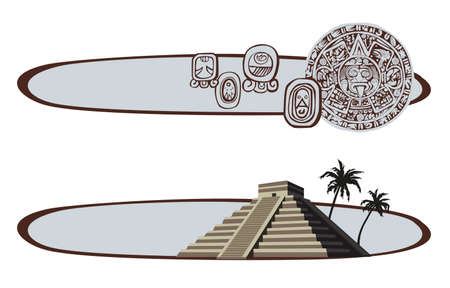 peru architecture: Illustration with Mayan Pyramid and ancient glyphs