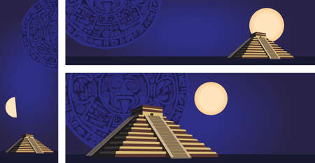 chichen: Illustration with ancient Mayan Pyramid and calendar  Illustration