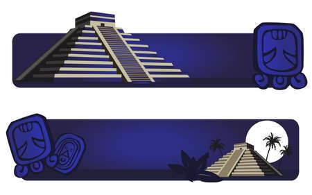 hieroglieven: Illustratie met Maya Piramide en oude hiërogliefen Stock Illustratie