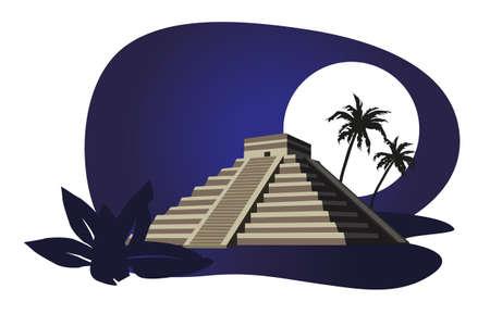 cultura maya: Ilustraci�n con la Pir�mide Maya aisladas sobre fondo blanco