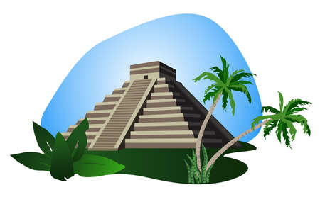 Illustration with Mayan Pyramid isolated on white background  Illustration
