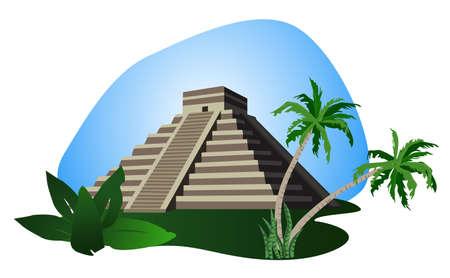 chichen itza: Illustration with Mayan Pyramid isolated on white background  Illustration