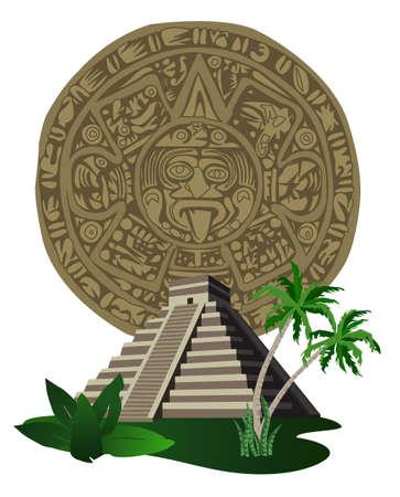 cultura maya: Ilustración con antigua pirámide Maya y calendario  Vectores