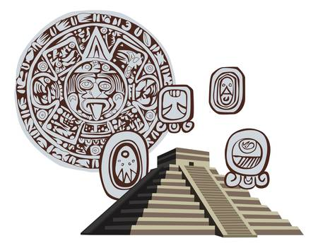 chichen itza: Illustration with Mayan Pyramid and ancient glyphs
