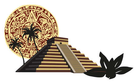 peru architecture: Illustration with ancient Mayan Pyramid and calendar  Illustration