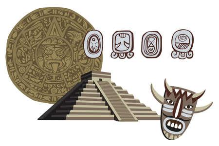 yucatan: Illustration with Mayan Pyramid and ancient glyphs