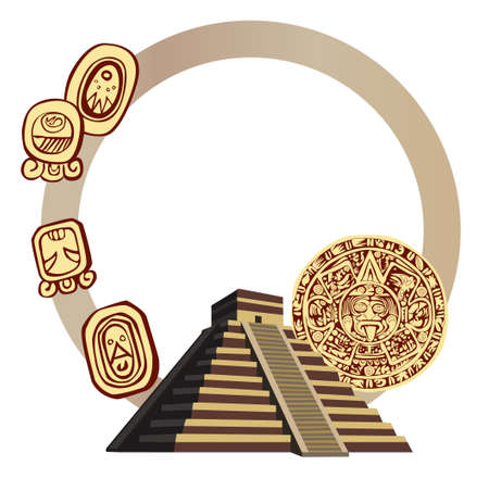 inca architecture: Illustration with Mayan Pyramid and ancient glyphs
