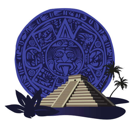 crypt: Illustration with ancient Mayan Pyramid and calendar  Illustration