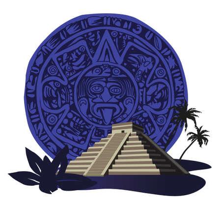 cripta: Illustrazione con antichi Piramide Maya e il calendario Vettoriali