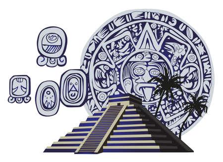 inca ruins: Illustration with Mayan Pyramid and ancient glyphs