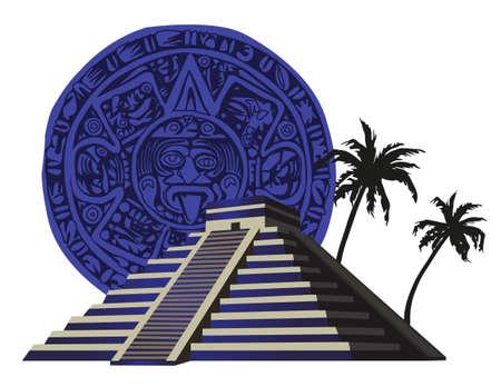 cripta: Illustrazione con antica Piramide Maya e calendario