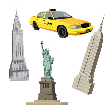 Illustration with Statue of Liberty, Chrysler, Empire State Buildings and a New York City  taxi