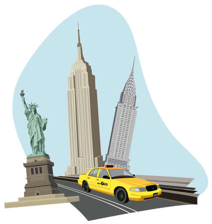empire state: Illustration with skyscrapers, Statue of Liberty and a new york taxi
