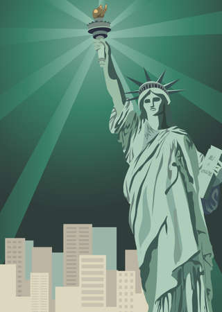 Background illustration with Statue of Liberty and New York skyscrapers   Vector