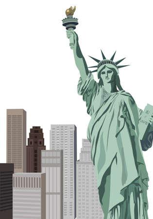 メトロポリス: 自由の女神像とニューヨークの高層ビルの背景イラスト