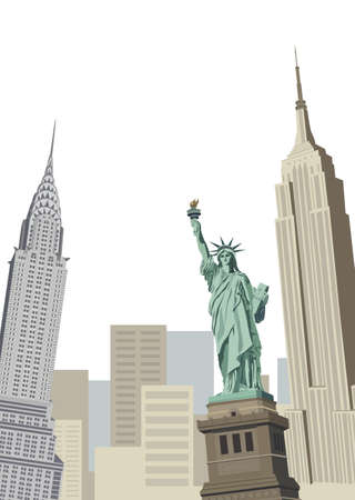 empire state building: Background illustration with Statue of Liberty and New York skyscrapers