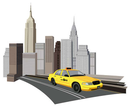 empire state building: Illustration with skyscrapers and a new york taxi