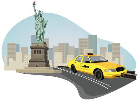 new york street: Illustration avec les gratte-ciels, Statue de la libert� et un new york taxi