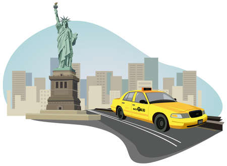 new cab: Illustration with skyscrapers, Statue of Liberty and a new york taxi
