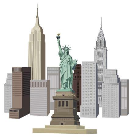 imperium: Illustratie met skyline van New York en het Vrijheidsbeeld Stock Illustratie