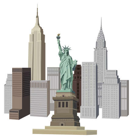 Illustration with New York City skyline and Liberty Statue  Illustration
