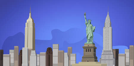 Background illustration with New York City skyline   Vector