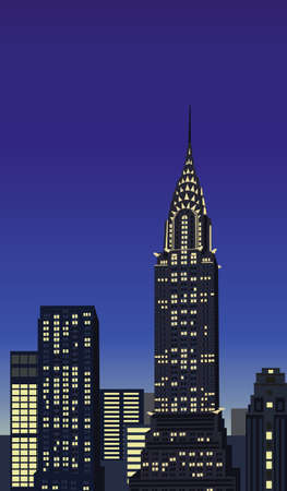 new york buildings: Illustration with skyscrapers and Chrysler Building