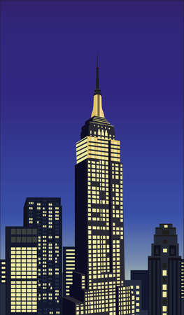 empire state building: Illustration with skyscrapers and Empire State Building