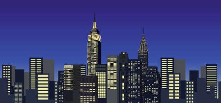 メトロポリス: ニューヨーク市のスカイラインの背景イラスト  イラスト・ベクター素材