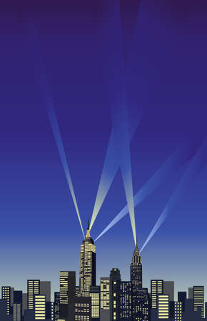 empire state building: Background illustration with New York City skyline   Illustration