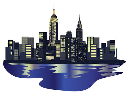 Illustration with New York City Skyline isolated on white background