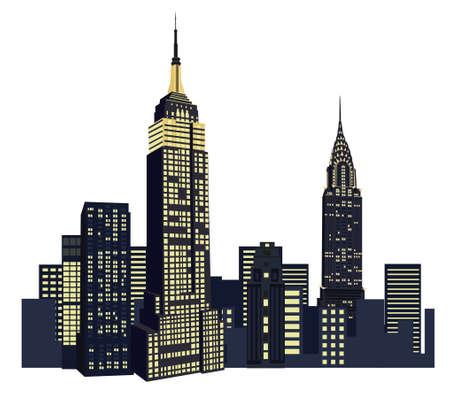 Ilustración con edificios de Nueva York sobre fondo blanco