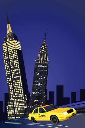 imperium: Illustratie met wolkenkrabbers en New York Taxi Stock Illustratie
