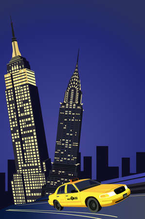 Illustration with skyscrapers and new york taxi