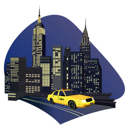 Illustration with skyscrapers and new york taxi isolated on white background  Ilustração