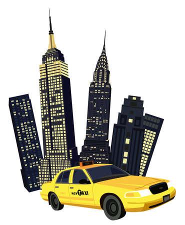 imperium: Illustratie met wolkenkrabbers en New York Taxi op een witte achtergrond