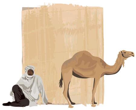 Papiro de fondo con un beduino y un camello