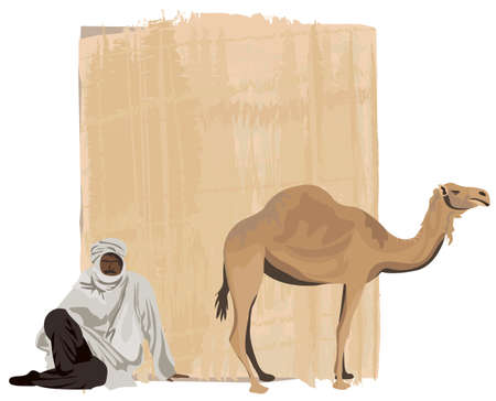 african culture: Papyrus background with a bedouin and a camel