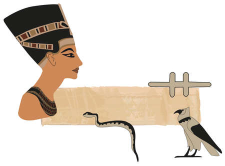cheops: Papyrus banner with Nefertiti and hieroglyphs Illustration