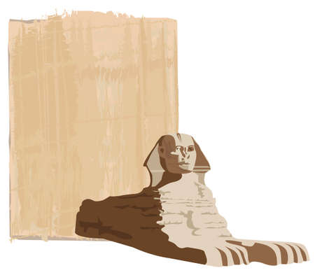sfinx: Papyrus achtergrond met de sfinx Stock Illustratie