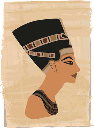 Nefertiti portrait illustrated on papyrus  Vector