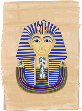 pharaoh: Tutankhamun portrait illustrated on papyrus  Illustration
