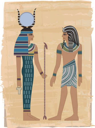 ancient egyptian culture: Pharaoh Figures illustrated on papyrus  Illustration