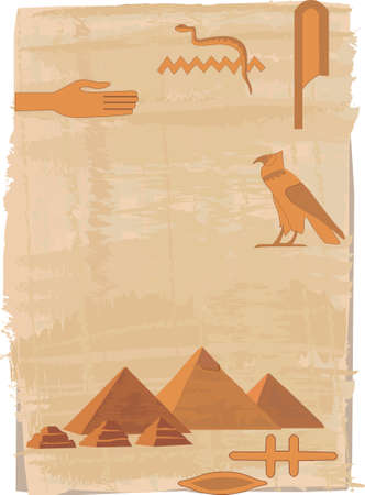 cheops: Papyrus background with hieroglyphs and the pyramids