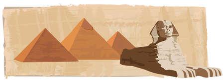 Ilustración de fondo con la esfinge y las pirámides