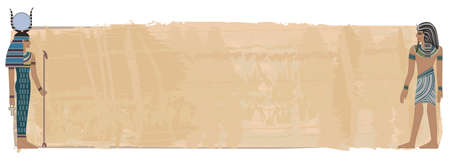 papyrus: Papyrus banner with pharaoh figures  Illustration