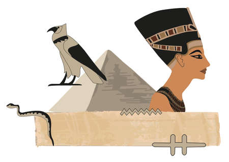 Papyrus banner with Nefertiti and hieroglyphs Stock Vector - 10862783